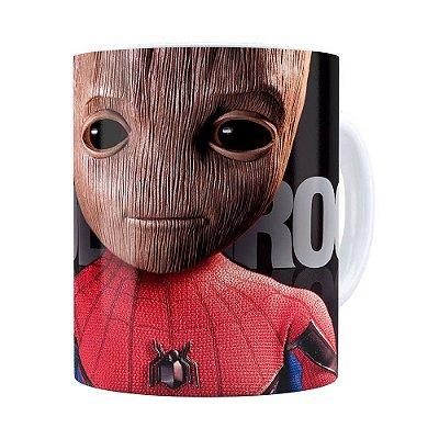 Caneca Spider Groot 3D Print Branca