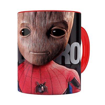 Caneca Spider Groot 3D Print Vermelha