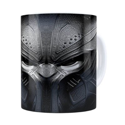 Caneca Pantera Negra 3D Print Vingadores Branca