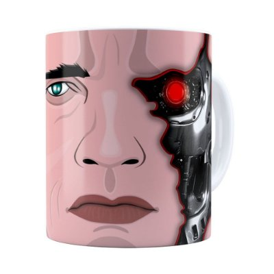 Caneca Exterminador do Futuro Schwarzenegger Branca