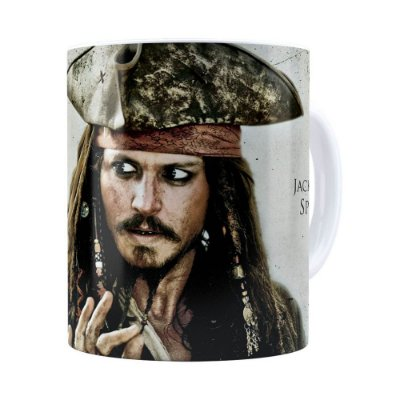 Caneca Piratas do Caribe Jack Sparrow Branca