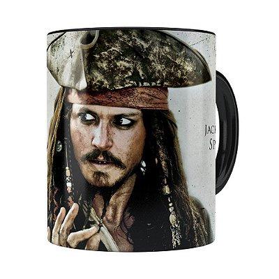 Caneca Piratas do Caribe Jack Sparrow Preta
