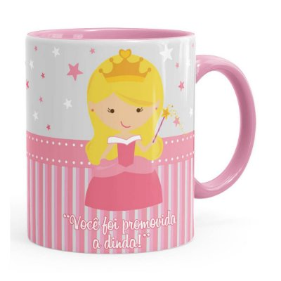 Caneca Dinda Princesa Cute Rosa