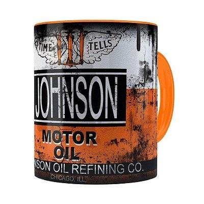 Caneca Lata de Óleo Retrô Oil Johnson Laranja