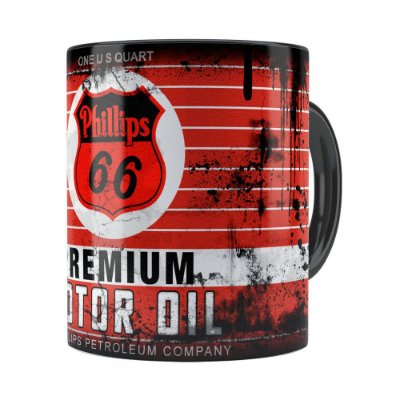 Caneca Lata de Óleo Retrô Oil Phillips Preta