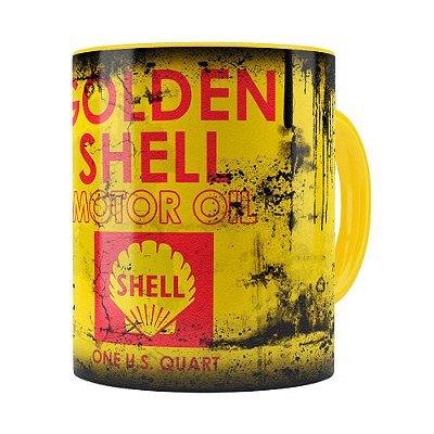 Caneca Lata de Óleo Retrô Oil Shell Amarela