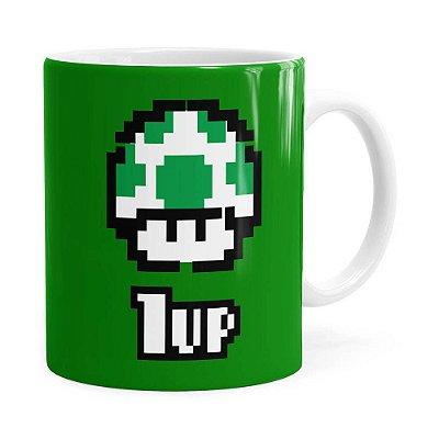 Caneca 1 UP Super Mário Bros Verde Branca