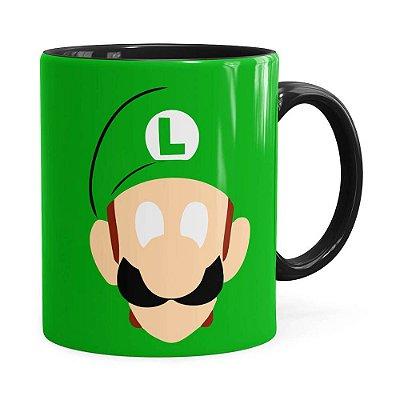 Caneca Luigi Super Mário Bros Anime Minimalista Preta