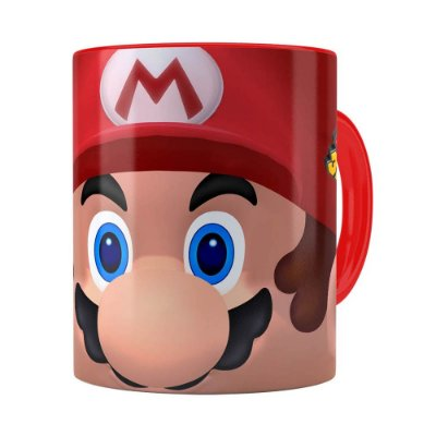 Caneca Mario 3D Print com Logo Vermelha