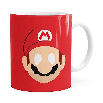 Caneca Mario Super Mario Bros Minimalista Branca