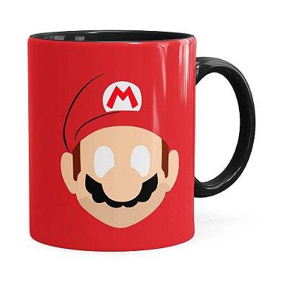 Caneca Mario Super Mario Bros Minimalista Preta