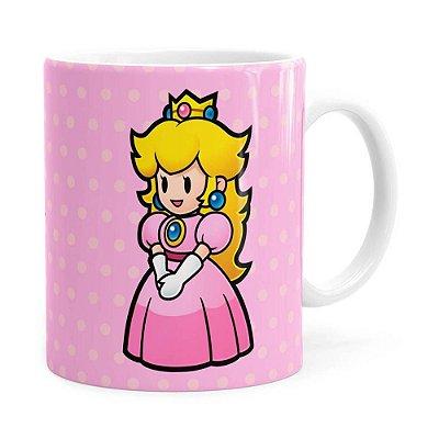 Caneca Princesa Peach Super Mario Bros v02 Branca