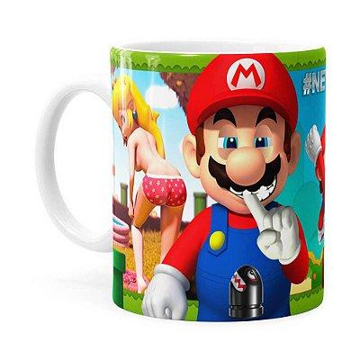 Caneca Super Mario Bros #NeverFriendZone Sexy v02 Branca