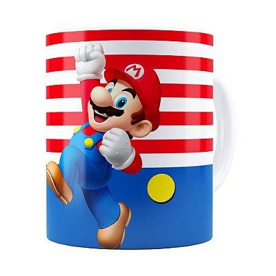 Caneca Super Mario Bros Mario Pulando Branca
