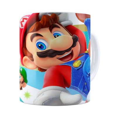 Caneca Super Mario Team 3D Print Branca