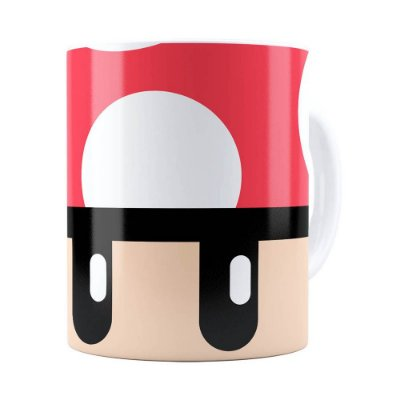 Caneca Toad Super Mario Bros Vermelho Branca