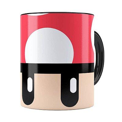 Caneca Toad Super Mario Bros Vermelho Preta