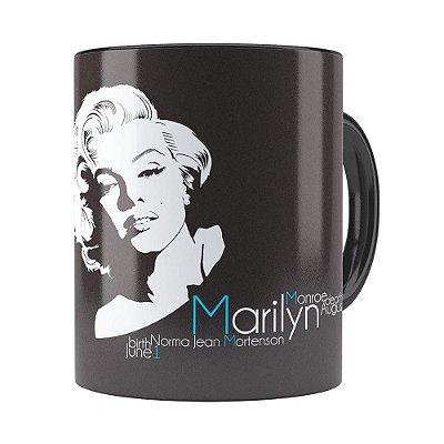 Caneca Marilyn Monroe Nascimento e Morte Preta