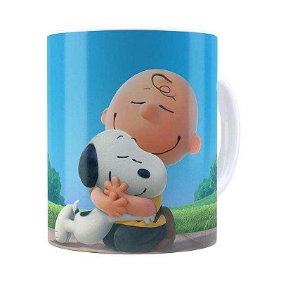 Caneca Peanuts Snoopy e Charlie Brown Branca