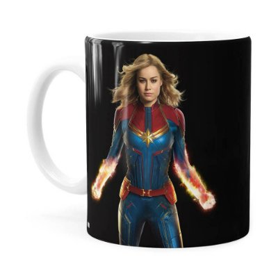 Caneca Capitã Marvel Filme v04 Branca