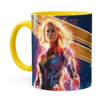Caneca Capitã Marvel Filme v05 Amarela