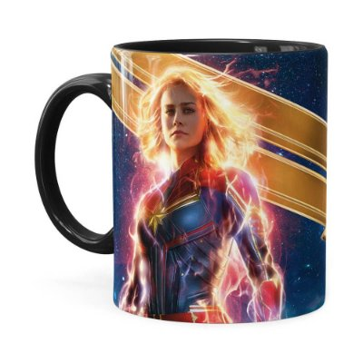 Caneca Capitã Marvel Filme v05 Preta