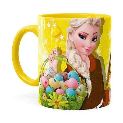 Caneca Feliz Páscoa Frozen Elsa v02 Amarela