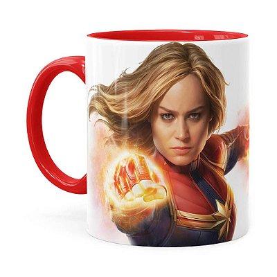 Caneca Capitã Marvel Filme v07 Vermelha