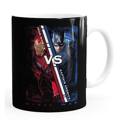 Caneca Capitão América VS Homem de Ferro Guerra Civil Branca