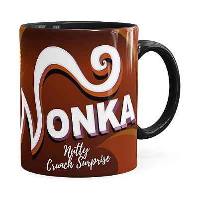 Caneca Wonka Fábrica de Chocolate Preta