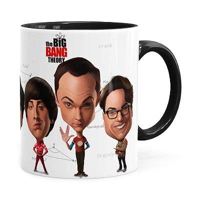 Caneca The Big Bang Theory Caricaturas Preta