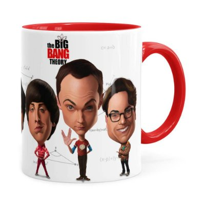 Caneca The Big Bang Theory Caricaturas Vermelha