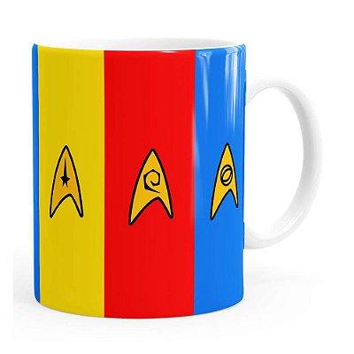 Caneca Star Trek Uniformes Divisões Branca