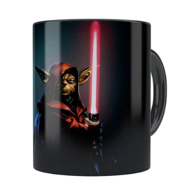 Caneca Star Wars Mestre Yoda 04 Preta