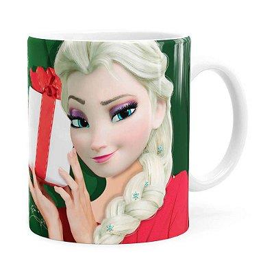 Caneca Feliz Natal Frozen Elsa v02 Branca