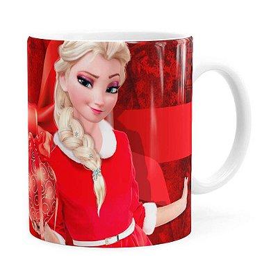 Caneca Feliz Natal Frozen Elsa v03 Branca