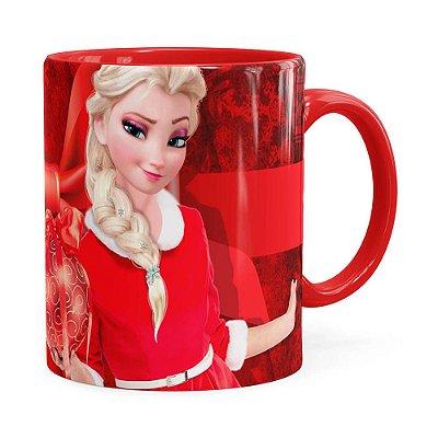 Caneca Feliz Natal Frozen Elsa v03 Vermelha