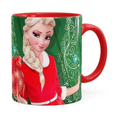 Caneca Feliz Natal Frozen Elsa v04 Vermelha