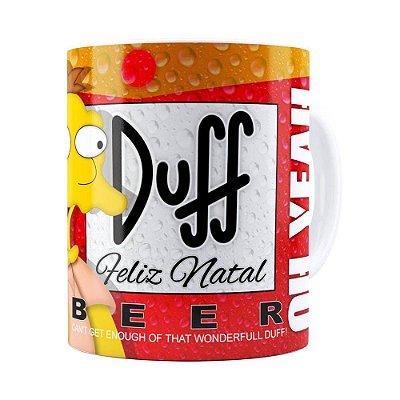 Caneca Simpsons Barney Gumble Duff Beer Natal Branca