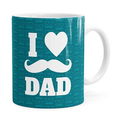 Caneca Dia dos Pais I Love Dad v01 Branco