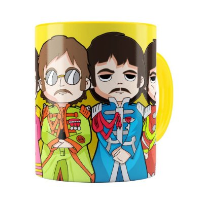 Caneca Beatles Sgt Peppers Lonely Hearts Amarela