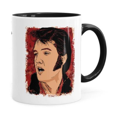 Caneca Elvis Presley Arte History Preta