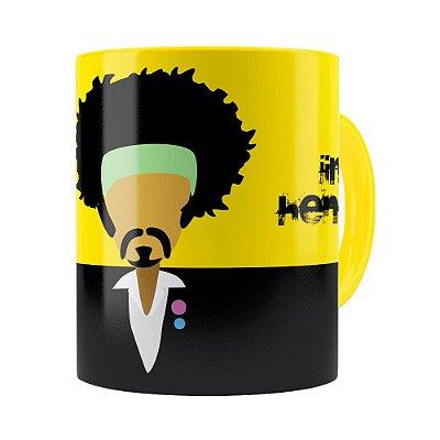Caneca Jimi Hendrix Minimalista Amarela