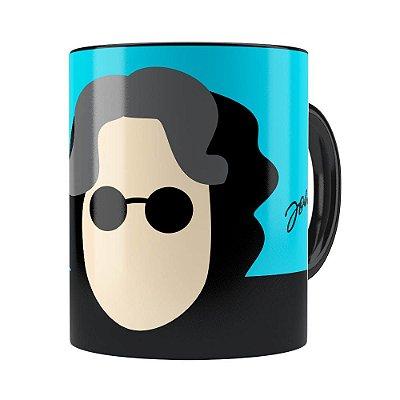 Caneca John Lennon Minimalista Preta