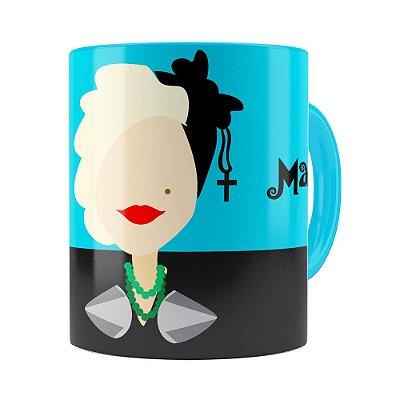 Caneca Madonna Minimalista Azul Claro