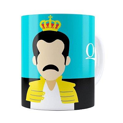 Caneca Queen Freddie Mercury Minimalista Branca