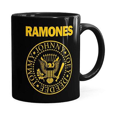 Caneca Ramones Logo President Preta