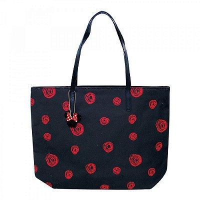 Bolsa Minnie Preta Com Rosas