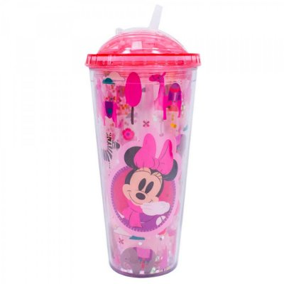 Copo Minnie Rosa Cubos Gelo Artificial 600ml
