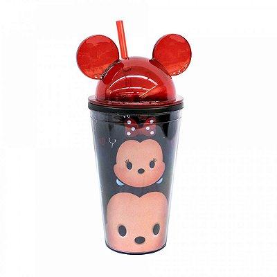 Copo Preto Mickey e Minnie Com Canudo E Orelhas Tsum Tsum 450ml